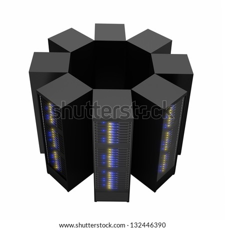 Server racks arranged in cluster. Isolated on white background