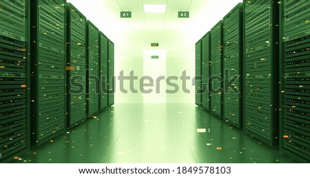 Server Racks In a Modern Data Center. High Tech Environment With Flying Numbers. Technology Related 3D Illustration Render. stock photo