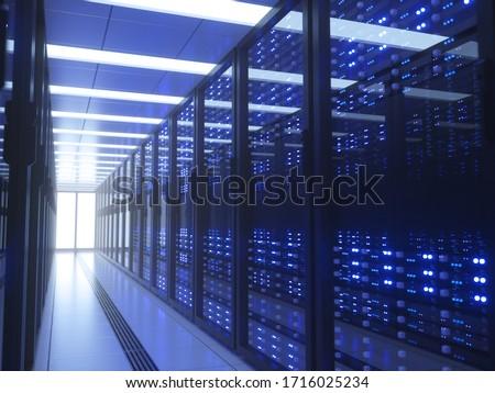 Server racks in computer network security server room data center. 3D render dark blue
