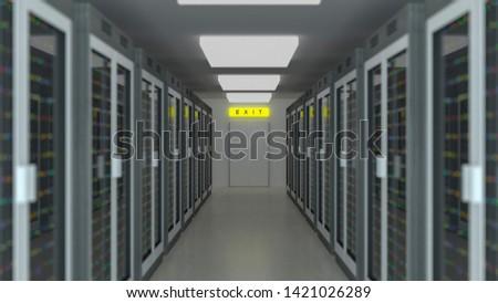 Server racks in server room cloud data center. Datacenter hardware cluster. 3d render. Backup, hosting, mainframe, farm and computer rack with storage information. 3D rendering. 3D illustration