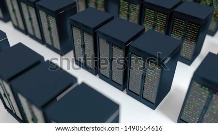 Server racks in server room cloud data center. Exit door. Datacenter hardware cluster. Backup, hosting, mainframe, farm and computer rack with storage information. 3D