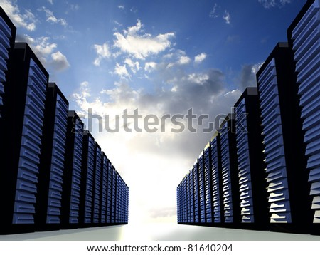 Server Racks with blue cloudy sky