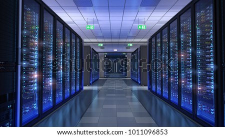 Server room, bit coin mining, supercomputing, command center 3d