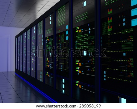 Server room (colocation) or colo with several cabinets, server, switches and gateways. Foto stock ©