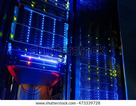 Server room colocation or colo with several cabinets, , switches and gateways. Foto stock ©