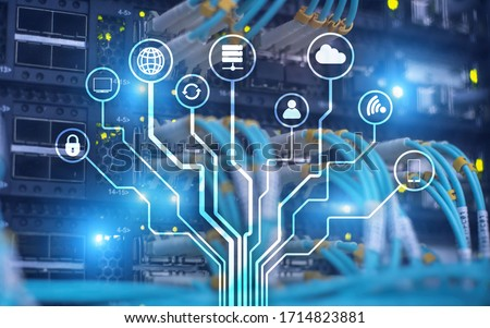 Server Room ICT information communication technology wireless internet connection big data processing center. IOT internet of things.