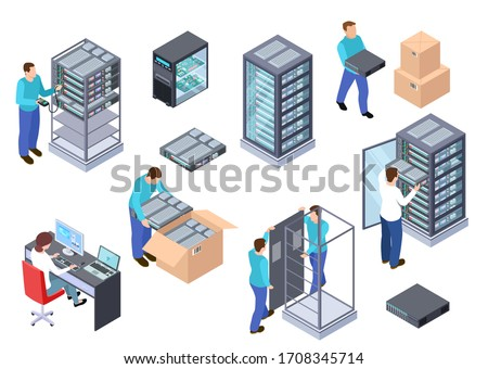 Server room isometric. Information technology server engineer, telecommunication cloud servers, computers and employees 3d set