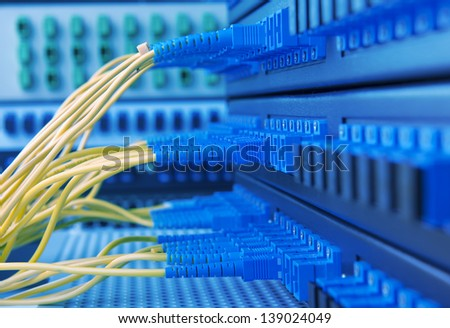 server room routers and fiber optical cables