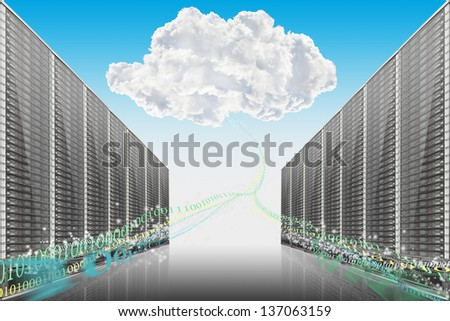Server room with cloud on background- illustration