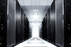 server room with modern mainframe equipment in data center