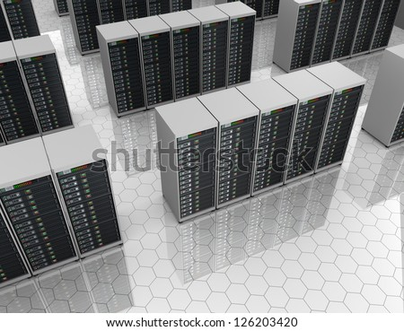 Server room with server clusters.