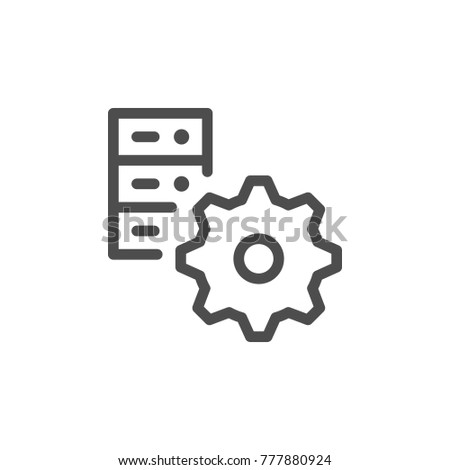 Server settings line icon isolated on white