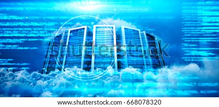 Server towers against close up of clouds stock photo