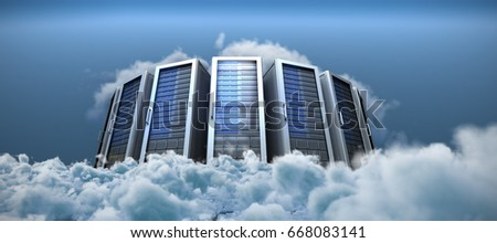 Server towers against close up of clouds