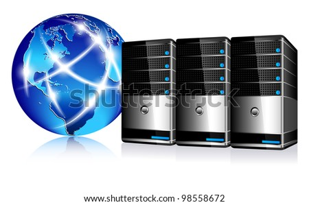 Servers and communication Internet World - Raster Version