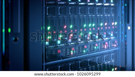 Servers close up. Modern datacenter. Cloud computing. Blade server and storage. 3d rendering