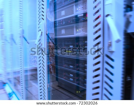 Servers in the data center in blue