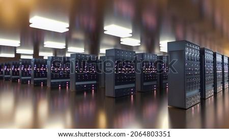 Servers. Server racks in server room cloud data center. Datacenter hardware cluster. Backup, hosting, mainframe, mining, farm and computer rack with storage information. 3D rendering. 3D illustration