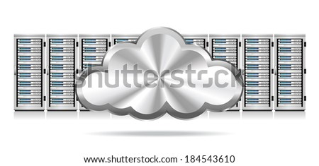 Servers with Silver Cloud Information technology conceptual image - Raster Version