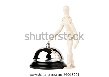 Service Bell and wooden dummy on the white background