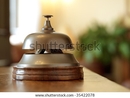 Service bell on a hotel reception desk