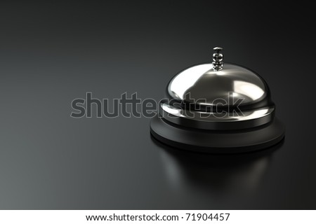 Service bell on dark background with space for copy. Computer generated image.