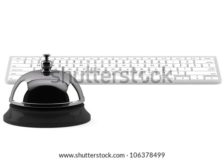 Service Bell ring with keyboard on the white background