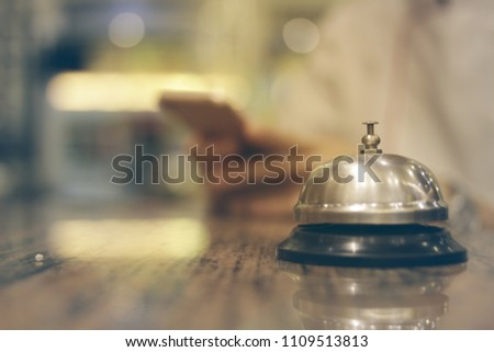 service bell vintage with bokeh background