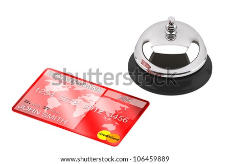 Service bell with Credit Card on a white background