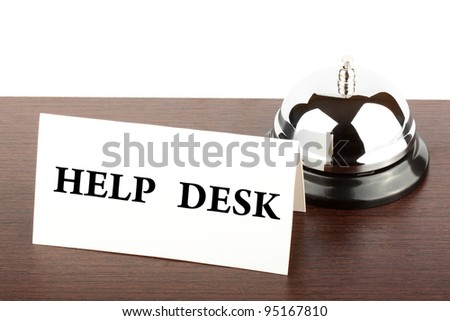 Service Bell with Help Desk  Sign at Hotel Desk