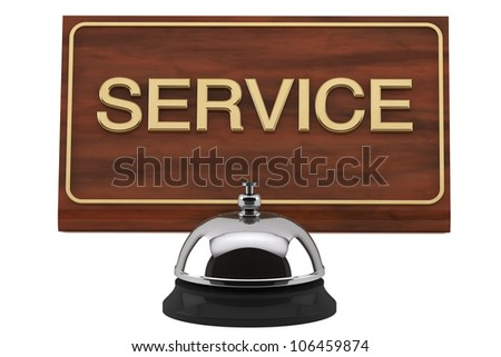 Service Bell with Service Sign Plate on a white background