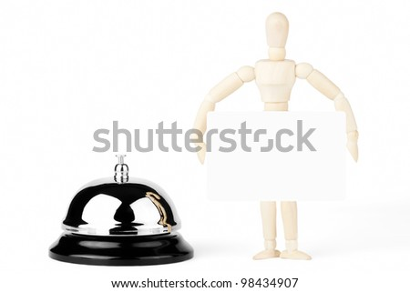 Service Bell, wooden dummy with blank sign on the white background