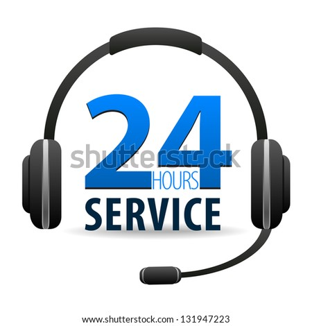 Service Call center - around the clock or 24 hours a day icon isolated on white background