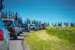 Service cars during professional cycling race - Tour de France concept photo