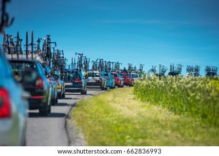 Service cars during professional cycling race - Tour de France concept photo #662836993