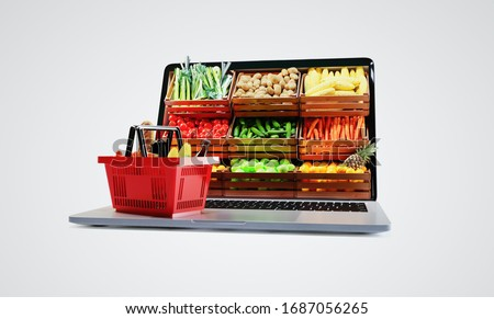 Service for delivery app. Food market in laptop. Online shop on web site. Food delivery background concept. Online shop in your smartphone. Shopping cart.