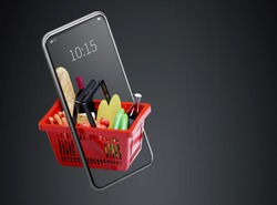 Service for delivery app. Food market in smartphone. Online shop. Food delivery background concept. Online shop in your smartphone. Shopping cart.