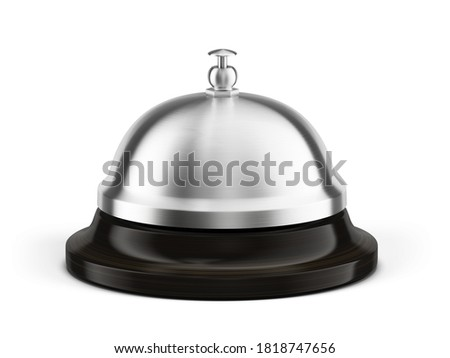 Service, hotel concept. Silver steel reception bell isolated on white - 3d illustration Foto stock ©