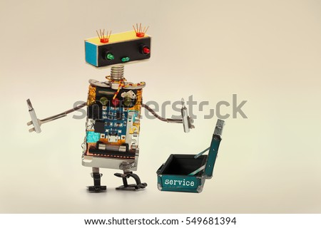 Service support concept. Technician worker with screwdrivers and opened baggage toolkit suitcase. Fun toy character handyman robot, colorful head red blue light bulbs eyes gradient background