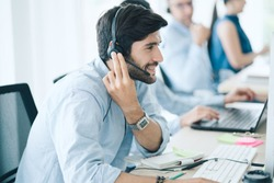 Service Team Concept. Operator or Contact Center Sale in Office, Information People Call Center, Quality Professional Team Sales Support Office. Environment Workplace Representative Company.