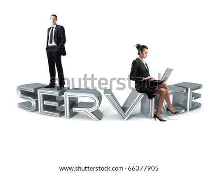 service team on 3d chrome text