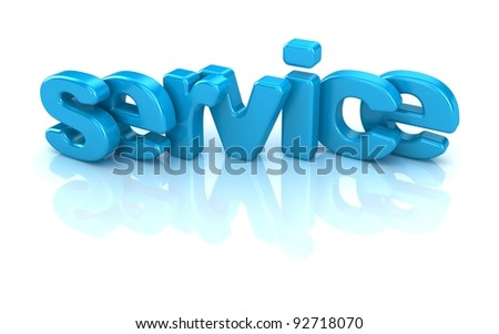 service text 3d isolated over white background
