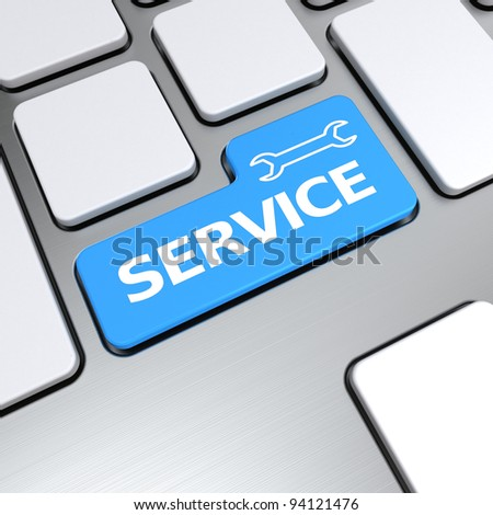 Service text with concept thumbs up symbol on keyboard