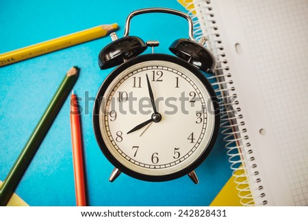 service time while clock morning beginning waiting colored pencils notebook book workbook exercise book copybook  paper pen