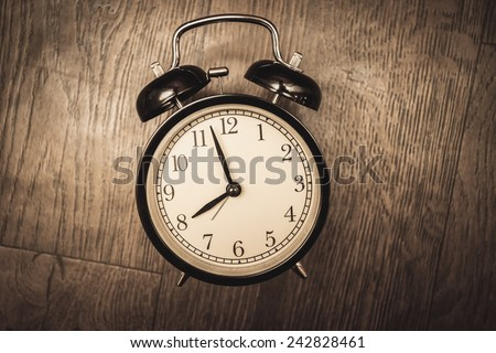 service time while clock waiting beginning morning wooden floor sepia