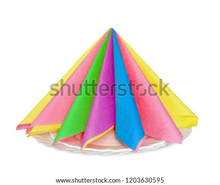 Serviette . Paper napkins. Napkins are color. Rainbow , Multicolored napkin. Napkin green, yellow, pink, blue, rainbow. For bar, restaurant, cafe, Ho Re Ka. Serviette isolated on white backgrou