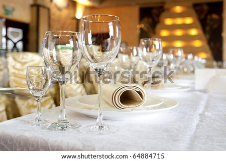 Serving banquet table in a restaurant - stock photo