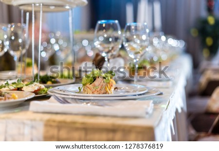Serving dishes in the restaurant. luxury dinner served on the table #1278376819