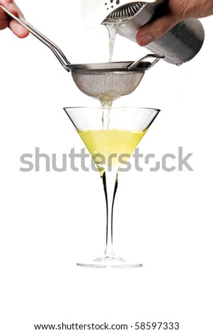 serving martini cocktail on isolated white background