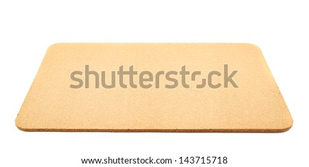 Serving mat made of cork isolated over white background